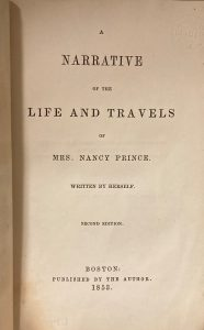 Title page, Narrative of the life and travels of Mrs. Nancy Prince